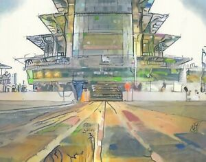 PRINT-Indianapolis-Motor-Speedway-Indy-500-Pagoda-Fine-Wall-Art-Painting-11x14