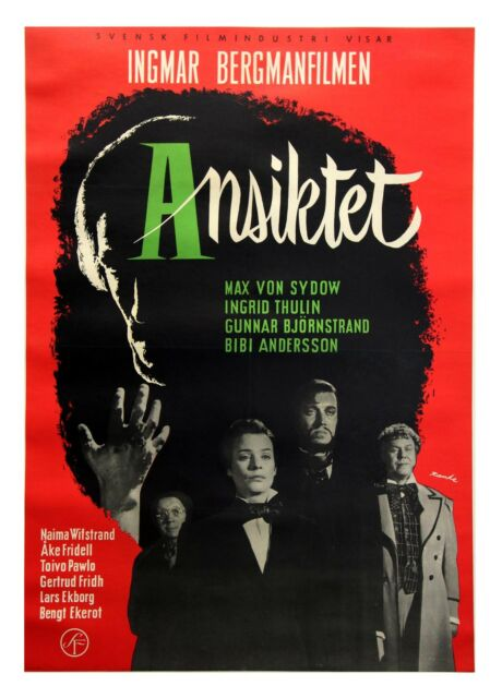 Ingmar Bergman ANSIKTET [THE MAGICIAN] (1958) Swedish one sheet on linen SUPERB