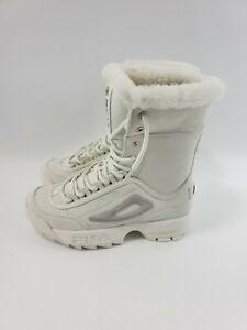 Women-039-s-Fila-Disruptor-5HM00521-125-Shearling-White-Winter-Boots-Size-7