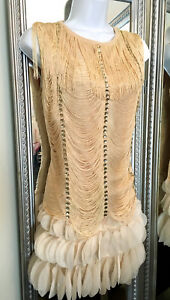 flapper-dress-Red-Beige-rhinestone-fringe-Salsa-Latin-Dance-20-039-s-costume-Sm-L