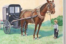 Original Watercolor by Stuart Jones Lancaster County PA Amish Boy Horse Buggy