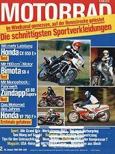 Motorrad 2 83 19.1.1983 Bimota SB4 Fantic RSX 80 Honda CX650E Zündapp KS80 Super