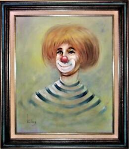 Clown Face Original Acrylic Painting On Canvas Signed K Boy Framed 30 X 26 Ebay