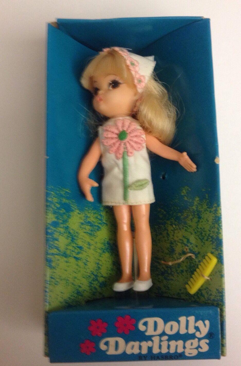 Hasbro Dolly Darlings día soleado Muñeca Traje Vestido blancoo con Flor rosado Muy Raro