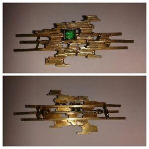 Spilla Ansteckschmuck Amerikaner Astratto Forma Con Verde Pietre Aromatic Flavor Fine Pins & Brooches Precious Metal Without Stones
