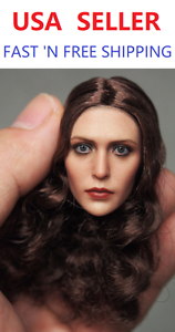 1 6 Scale Elizabeth Olsen Scarlet Witch w  BROWN CURLY hair Head Sculpt