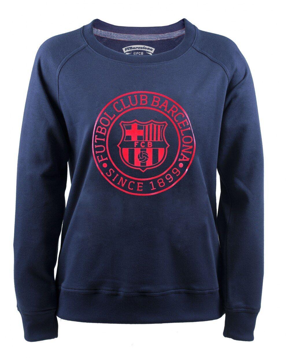 Sweatshirt offiziel Barcelona FCB Seit 1899 dunkelblau Rundhals Frau Original