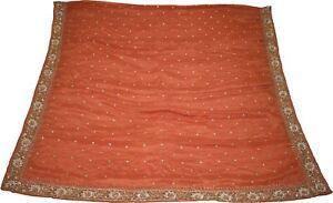 Indian-Vintage-Dupatta-Embroidered-Chiffon-Brown-Long-Stole-Antique-Zari-Sequins