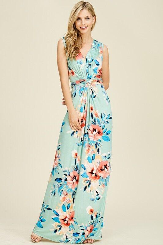 Reborn J floral sleeveless twist front maxi dress boho bohemian style S M L XL