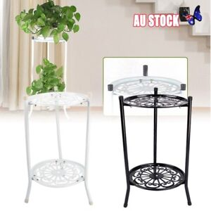 2 Holder Metal Plant Pot Stand Flower Display Shelf Garden