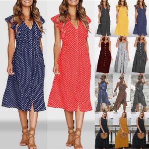 UK-Ladies-Women-Summer-Beach-V-neck-Polka-Dot-Midi-Dress-Holiday-Button-Sundress