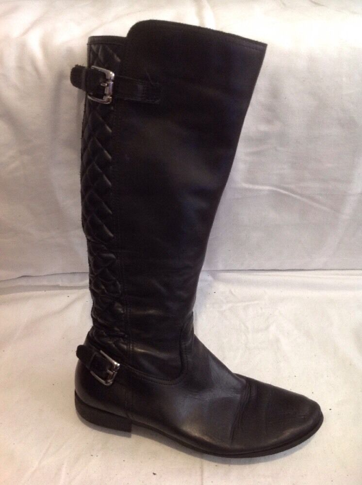 Ladies Black Knee High Leather Boots Size 41