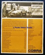 COBRA FORD PRICE LIST SPECIFICATIONS MARCH 1964 CAR SALES BROCHURE SHELBY USA AC