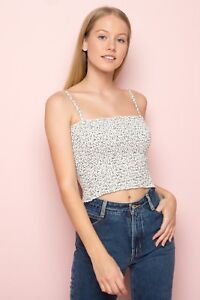 edc3534e297564 Image is loading New-Brandy-Melville-black-white-floral-smocked-cropped-