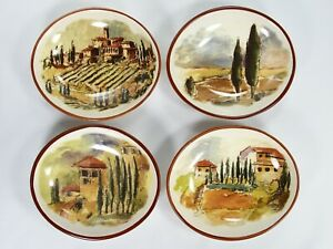 WILLIAMS-SONOMA-Set-4-ITALIAN-VILLA-TUSCAN-LANDSCAPE-Individual-Dipping-Bowls