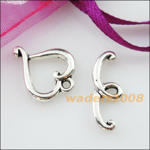 10 nouveaux connecteurs Collier Lisse Coeur Cercle Toggle Fermoirs Tibetan Silver