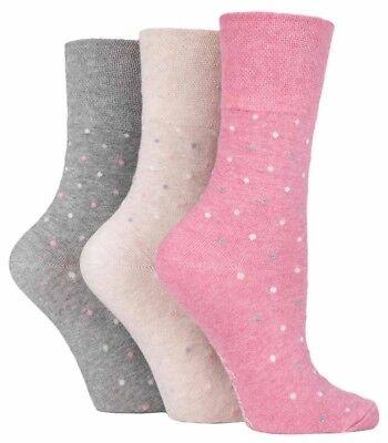 Taille 4-8 3 paires femme rose gris beige blanc en coton à pois Gentle Grip Chaussettes