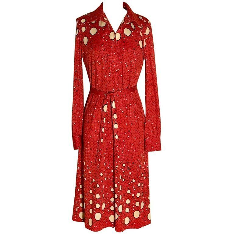 Roberta di Camerino VTG 1970s Red and Cream Polka Dot Shirt Dress 6 8 M