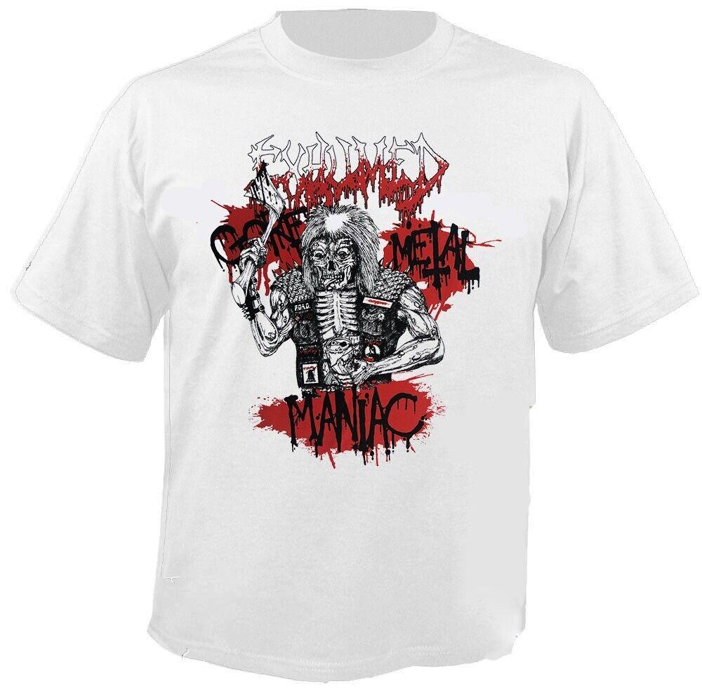 Amical Exhumed-gore Metal Maniac-white-t-shirt Prix De Liquidation