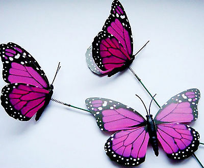 12cm Colorful 3D Artificial Butterflies with Iron Wire for Flower Arrangement