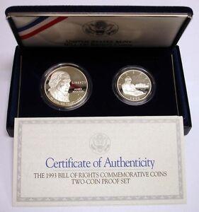 1993 BU Bill of Rights Silver 2 Coin US Mint Commemorative Silver Dollar /& Half