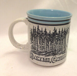 KLAMATH-CALIFORNIA-TREES-OF-MYSTERY-STONEWARE-COFFEE-MUG-CUP-BLUE-TRIM-amp-INSIDE