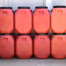 15 Gallon Storage Container Barrel Drum Heavy Orange Plastic Screw Top Handle 12