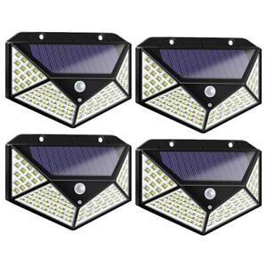 4X-100LED-Lampada-Solare-Parete-con-Sensore-di-Movimento-Faretti-da-Giardino