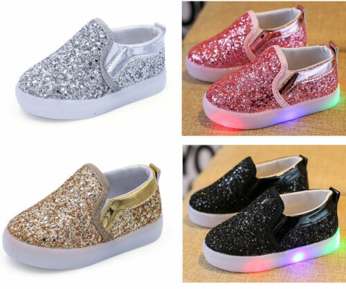 LED Sequins Kids Boy Girl Shoes Luminous Shoes Toddler Baby Athletic Lights Size