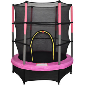 4-5FT-55-034-Kids-Trampoline-with-Safety-Net-Enclosure-Garden-Outdoor-Toy-Pink