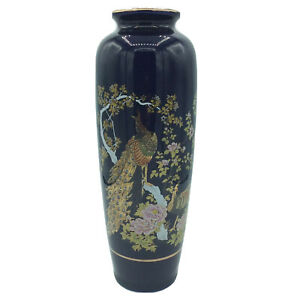 Gorgeous-ASAHI-JAPAN-VASE-with-Peacock-Red-Brown-Gold-11-Vintage-amp-PERFECT