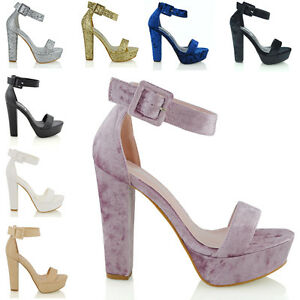 Womens-Strappy-Heel-Platform-Ankle-Sandals-Ladies-Block-Sole-Party-Prom-Shoes