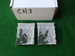 2x N Scale, N Gauge Stone Bridge Abutments - *single Track * Painted /foliage