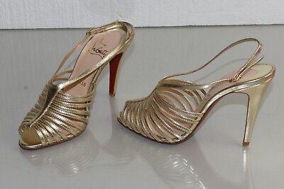 sports shoes e4542 f89e8 New Christian Louboutin BRETELLE 100 Strappy Sandals Gold Platinum Shoes 38  39   eBay