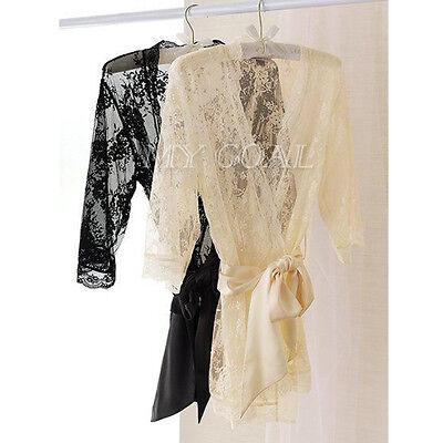 Women Lace Satin Lingerie Babydoll Bath Robe Sleepwear Underwear Nightwear Sexy
