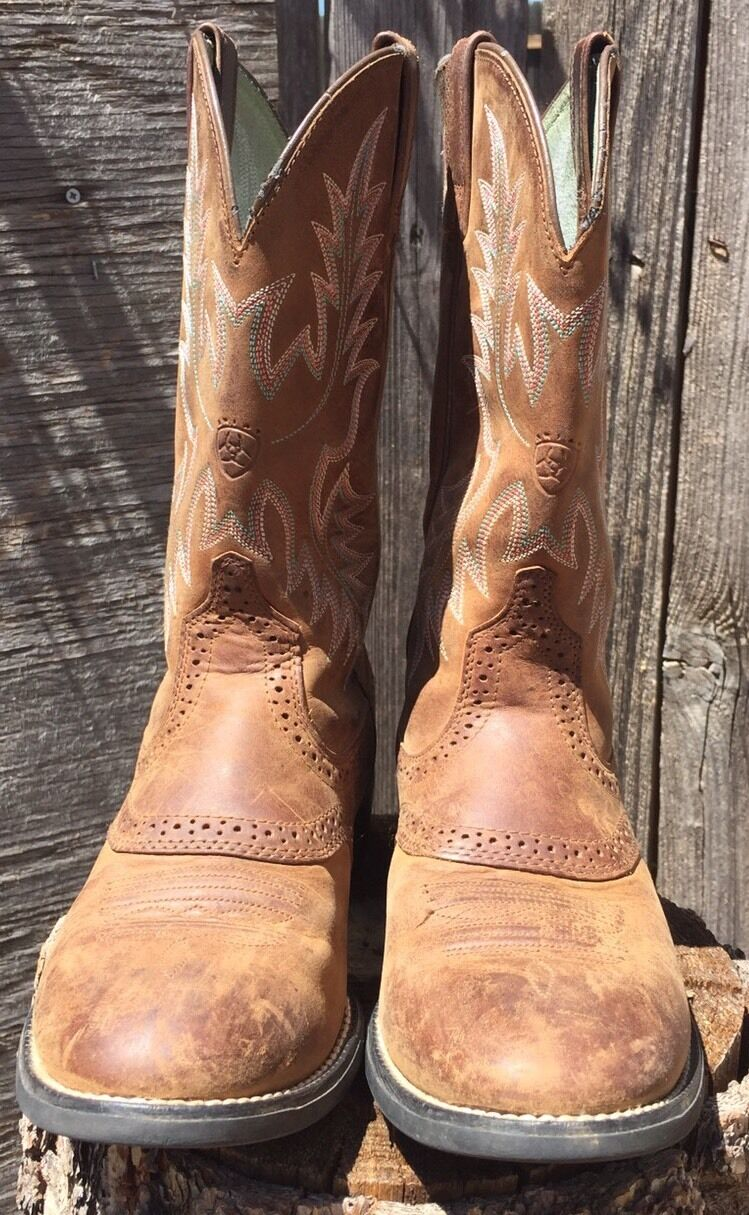 ARIAT Women's 29427 Pink bluee Stitch Brown Leather Cowboy Boots Mid-calf