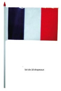 Lot 10 Drapeaux FRANCE Français Plastique 16 x 10 cm Supporter Football NEUF