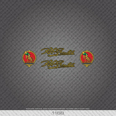 07120 F H Grubb Bicycle Head Badge Stickers Transfers Gold Decals