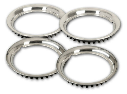 """Set of 4x 15/"""" Beauty rings stainless steel wheel trim snap clip on GLAMOUR Bands"""