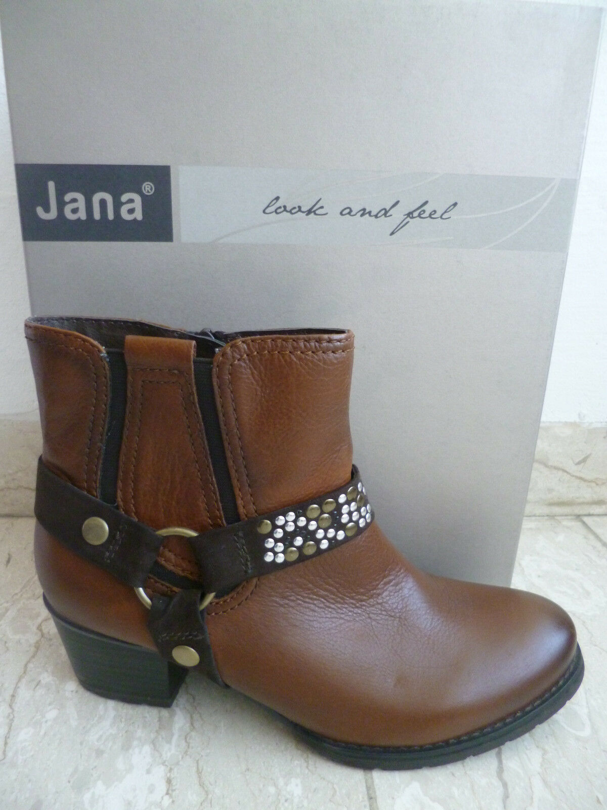 Jana leicht Stiefelette, braun, Weite H, leicht Jana gefüttert Echtleder 25328 NEU cc286e