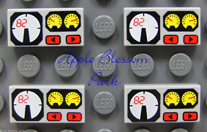 NEW 4 Lego 1x2 Gray Decorated FLAT TILE w/Engine Gauge/Dial Dashboard Pattern