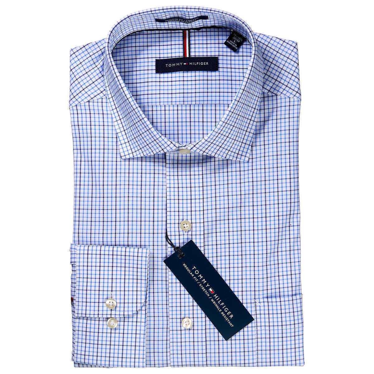 TOMMY HILFIGER THFLEX ANTLANTIC BLUE 19 34 35 BIG DRESS BUTTON FRONT SHIRT NWT