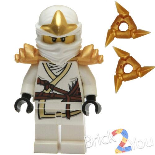 LEGO Ninjago Ninja Zane ZX minifigure with 2 GOLD Shurikens 9440 9449