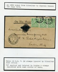 GIBRALTAR-1918-WWI-OHMS-cover-dumb-cancel-GB-SS-Gorsemore-Postage-Due-cancelled