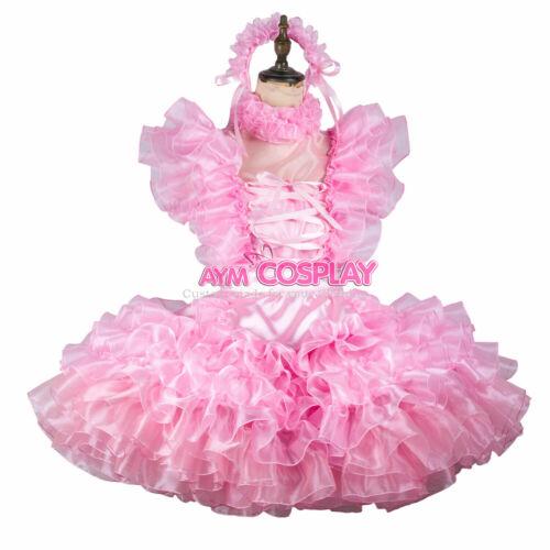 Pink satin lockable Sissy baby maid mini dress CD//TV Tailor-made
