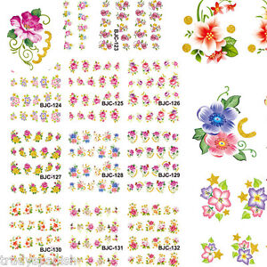 Nail-Art-Stickers-Nail-Water-Decals-Transfers-Flowers-Floral-Roses-Gel-Polish