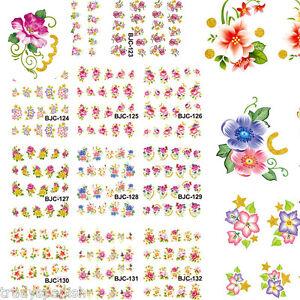 Nail-Art-Pegatinas-Calcomanias-De-Agua-De-Unas-Esmalte-Gel-Rosas-Floral-Flores-transferencias