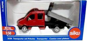 SIKU 1:50 DIE CAST FURGONE CON CASSONE  TRANSPORTER WITH PLATFORM  ART 3538