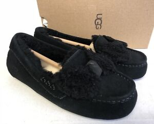73946389ca5 Details about UGG Australia Ansley Twinface Bow Black Fur Slippers 1019758  House Shoes Women's