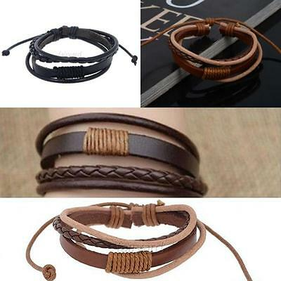 Fashion Womens/Mens Surfer Tribal Wrap Multilayer Braided Leather Cuff Bracelet